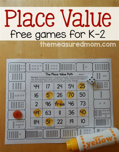 printable area games free place value games for k 2 kindergarten math and gaming