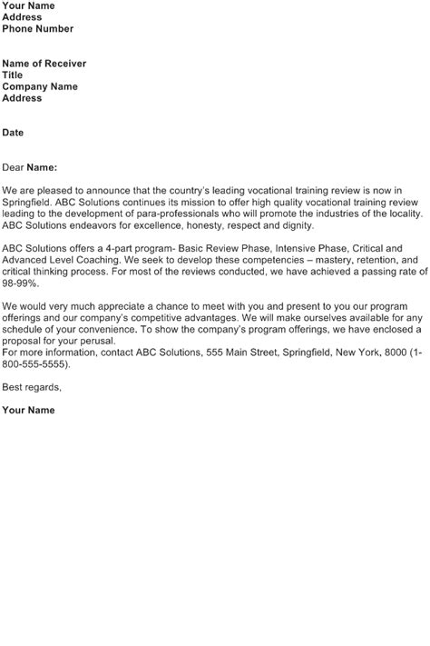 how to write a business letter introducing new product