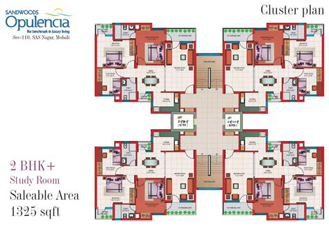 Cluster House Plans by Floor Plans 3bhk 4 Bhk Mohali Apartments Sandwoods Opulencia