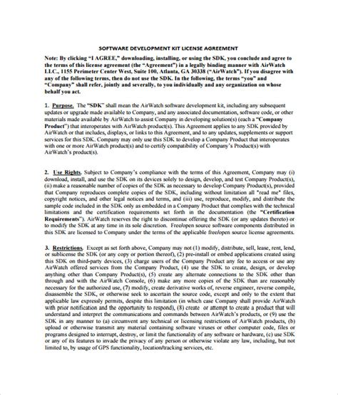 software license template sle software license agreement exle format