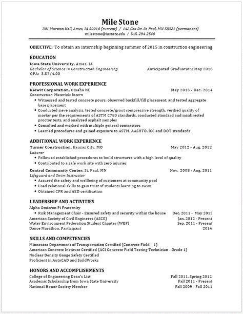 resume interests section exles exle resumes engineering career services iowa state