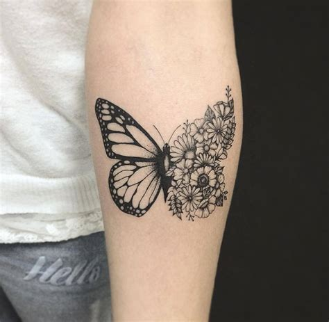 half butterfly tattoo designs half butterfly and flower on inner arm