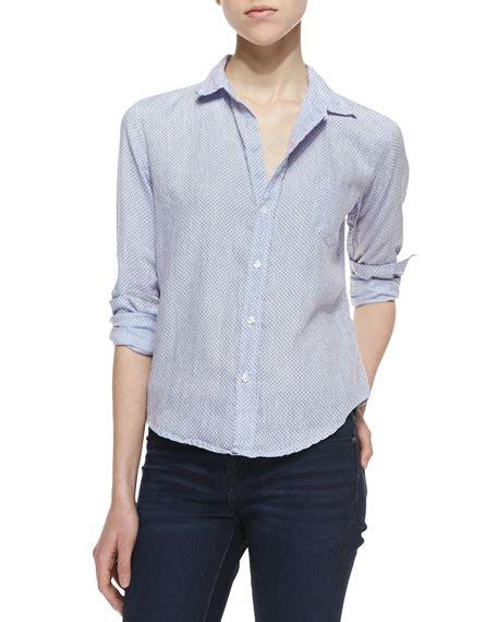 Frank Blue Blouse frank eileen barry linen pin dot button blouse blue