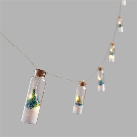 bottled snowy tree micro led battery operated string