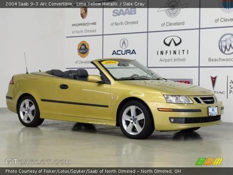 lime yellow metallic 2004 saab 9 3 arc convertible