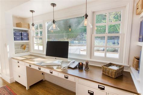 Home Office Desk In Front Of Window Country Home Office With Laminate Floors By Thea Segal