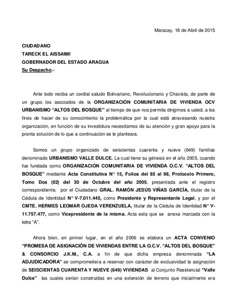 carta formal al gobernador carta para el gobernador
