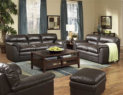 dark brown full leather transitional style sofa loveseat set