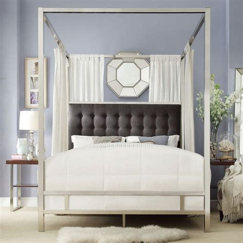 canopy beds queen homesullivan taraval chrome queen canopy bed 40e739bq