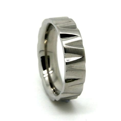 mens steel ring with unique edge