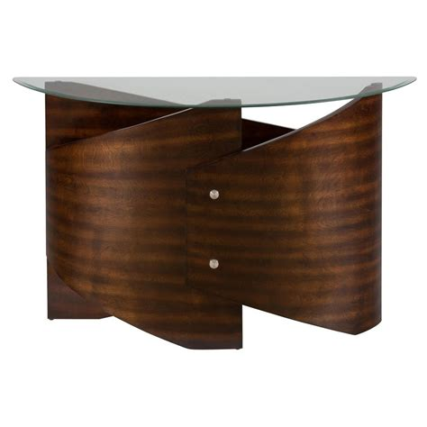 glass top sofa table waterville walnut glass top sofa table 956 4b 956 4g