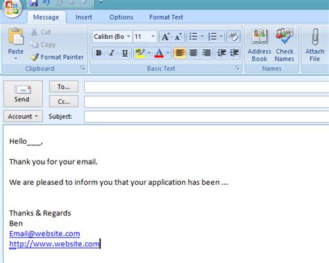 standard email template outlook 2007