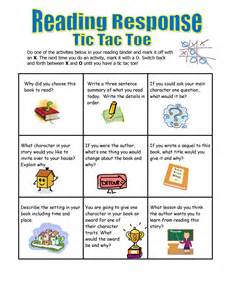 tic tac toe choice board template printable reading response sheets for kindergarten book