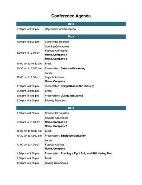 Conference Agenda Conference Template