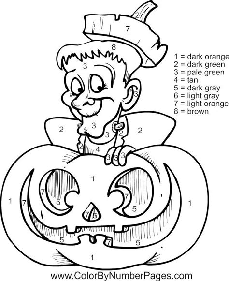 Halloween Coloring Pages By Number | halloween color by numbers coloring home