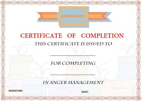 Certificate Of Completion Template 55 Word Templates Editable Designs Text Demplates Anger Management Certificate Of Completion Template