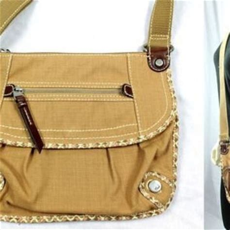 Fossil Satchel Abstrac fossil brown khaki canvas flap from weboys10 on ebay