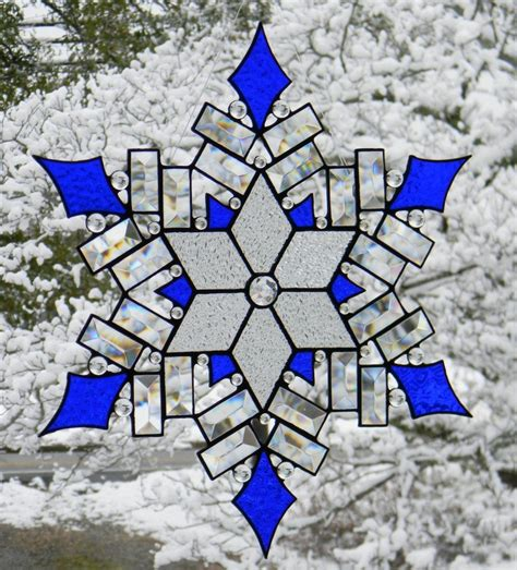snowflake patterns for stained glass stained glass snowflake cobalt accents by oriskanyglass on
