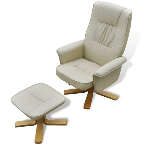 armchair footstool white cream white tv armchair recliner artificial leather