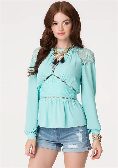 Blouse Wolly Crepe Hiotam Fn lace paneled blouse tops bebe