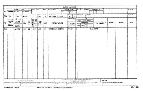 Ocean Cargo Manifest Shipping Manifest Template