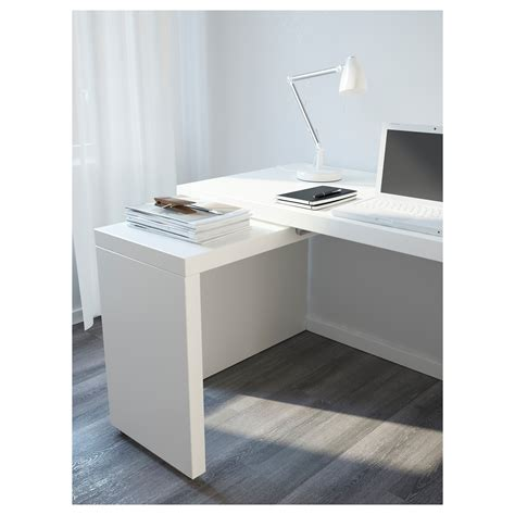 Malm Desk With Pull Out Panel White 151x65 Cm Ikea Pull Out Desk