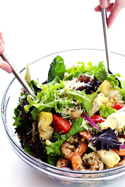 tossed green salad recipes for a crowd shrimp and artichoke green salad with lemon vinaigrette