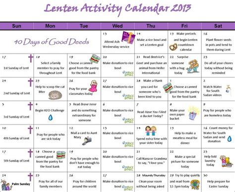 search results for 40 day calendar lenten printable