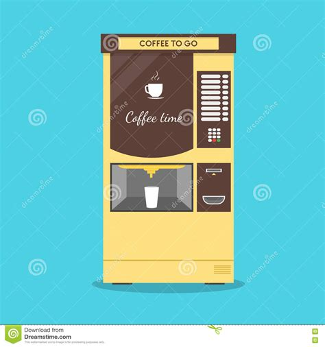 Flat Design Video Maker | coffee vending machine vector stock vector image 79781486