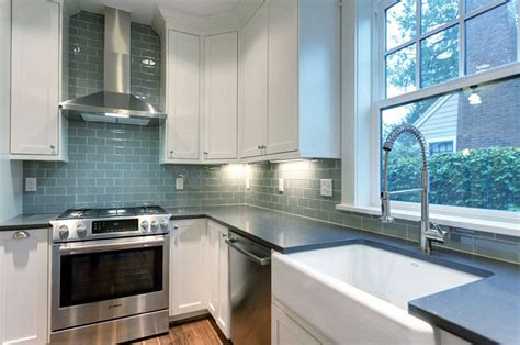 white cabinets with backsplashes for kitchens blue