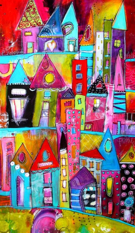 colorfu houses painting colorful and bold funky city scape acrylic painting 24 x