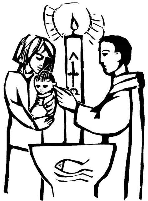 coloring pages baby baptism baptism free colouring pages