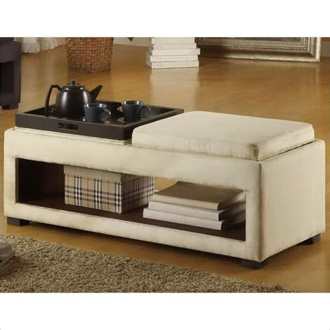 microfiber storage bench cancun microfiber double tray storage bench in cream