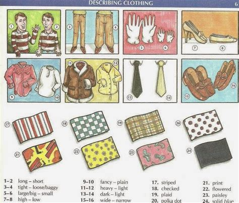 patterns english words clothes patterns materials styles vocabulary