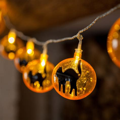 15 led orange spooky cat fairy lights lights4fun co uk