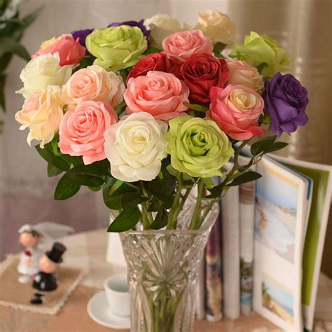 artificial flower decorations for home new artificial fake silk circle center rose flower bouquet