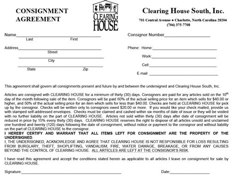 free consignment contract template consignment agreement sle free printable documents