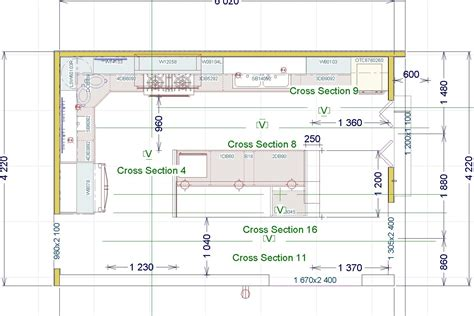 shaped kitchen layout dimensions  design