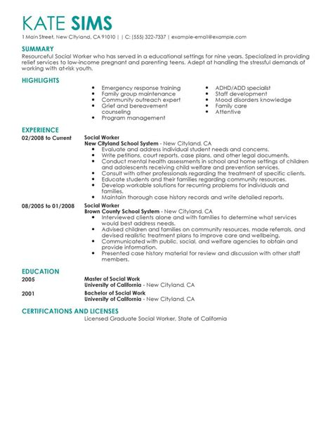 Social Work Resumes by Best Social Worker Resume Exle Livecareer