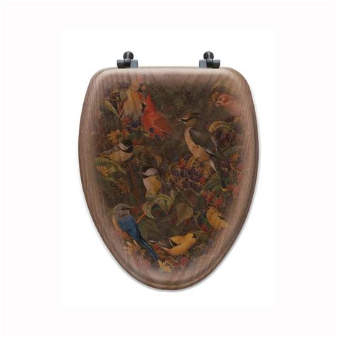 elongated oak wood toilet seat berry bush songbirds elongated closed front wood toilet