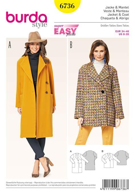 coat pattern burda 6736 misses jackets and coats