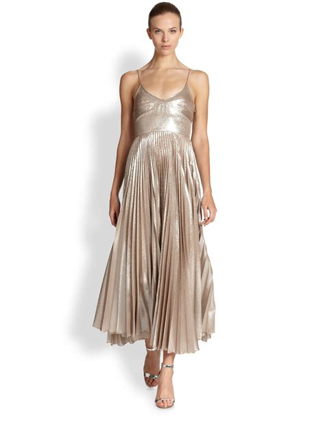 rochas metallic silk plisse dress in metallic lyst