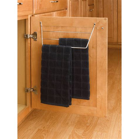Cabinet Door Towel Rack Kitchen Cabinet Door Mount Towel Holders Chrome Or White Wire By Rev A Shelf Kitchensource