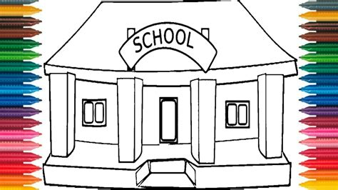 Sketches School by Drawing School How To Draw School Picture Coloring