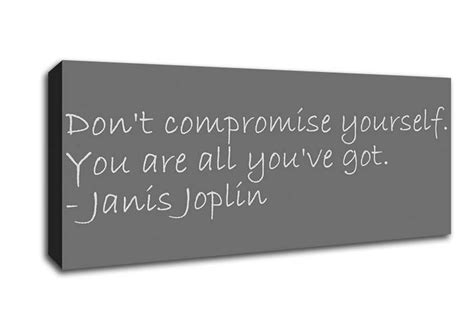 janis joplin dont compromise  grey text quotes panoramic panel canvas panoramic canvas