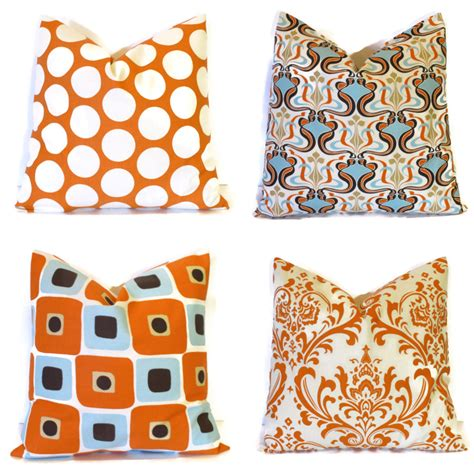 fall pillows burnt orange decorative by littlepeepshomedecor