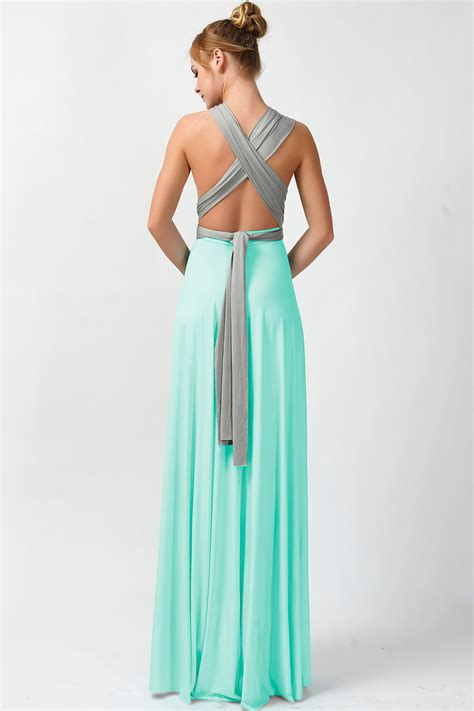 mint color dress two colors convertible dress infinity dress gray and mint