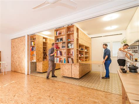 moving walls transform a tiny apartment into a 5 room home