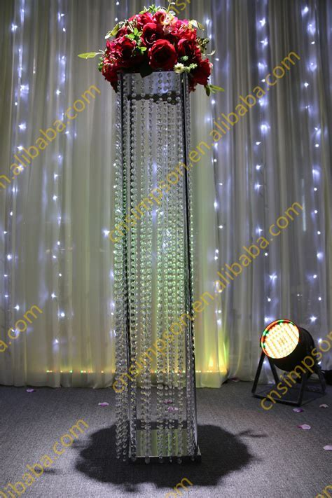 Tall Square Crystal Column Wedding,Walkway Leading Road