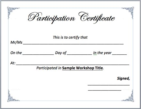 Free Participation Certificate Templates For Word by Workshop Participation Certificate Template Microsoft